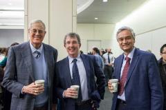 David H. Koch '62 SM '63, Killian Award recipient Tyler Jacks, and Krishna Rajagopal, chair of the MIT faculty; photo: Sham Sthankiya