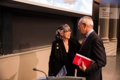 MIT President L. Rafael Reif congratulates Professor Susan Silbey after her lecture