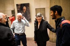 Image of Professor Silbey mingling with guests at the post-lecture reception